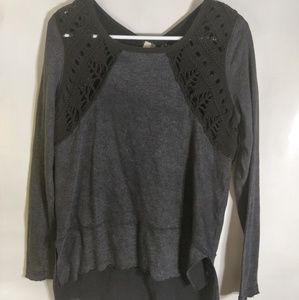 Free people light weight long sleeve black/gray